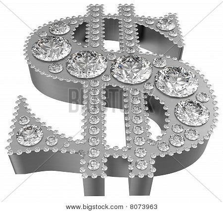 Silver 3D Dollar Symbol Incrusted With Diamonds
