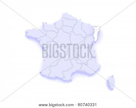 Map of Alsace. France. 3d