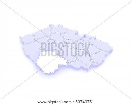 Map of South Bohemian Region. Czech Republic. 3d
