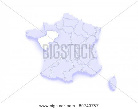 Map of Pays de la Loire. France. 3d