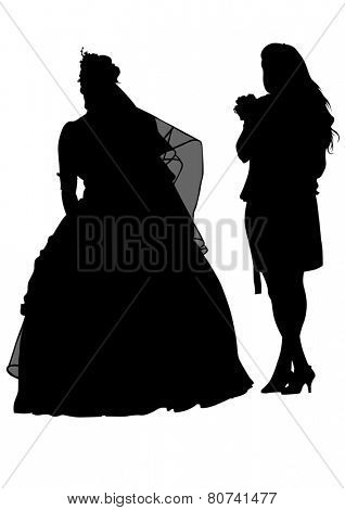 Two people of wedding on white background