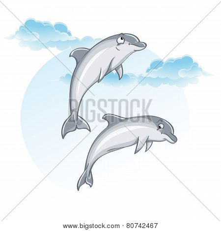 Cartoon image of dolphins.