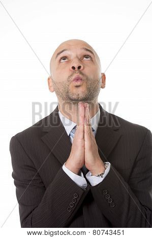 Young Attractive Businessman Looking Up Praying To God For Business Problem Solution, Financial Bene