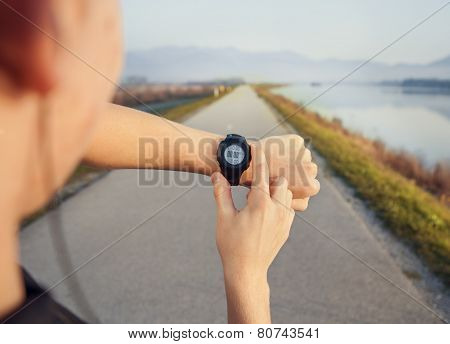 Runner Start His Watch Before Jogging