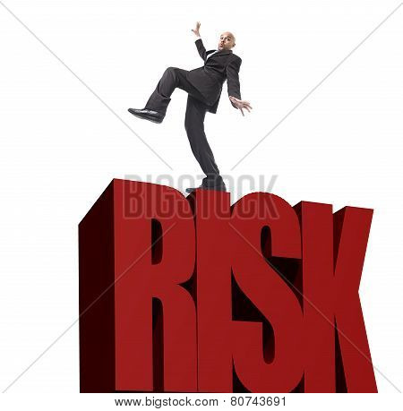 Businessman In Stress Walking On Edge In Big Financial Risk Trying To Keep Balance And Step Ahead
