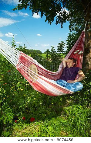 Man Enjoying His Hammock