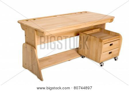 A wooden school desk with a bedside table on a white background