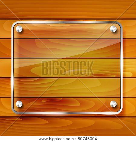 Transparent Glass Frame On Wooden Background