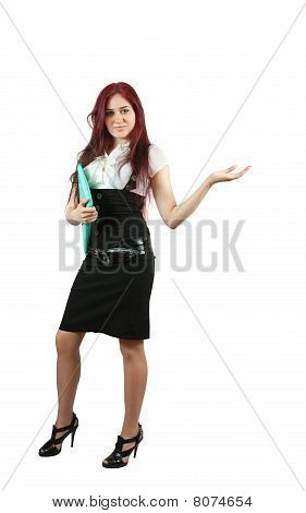 Girl In Black Dress Points At Copyspace