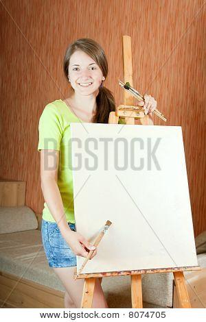 Pretty Girl   Standing  Near Easel