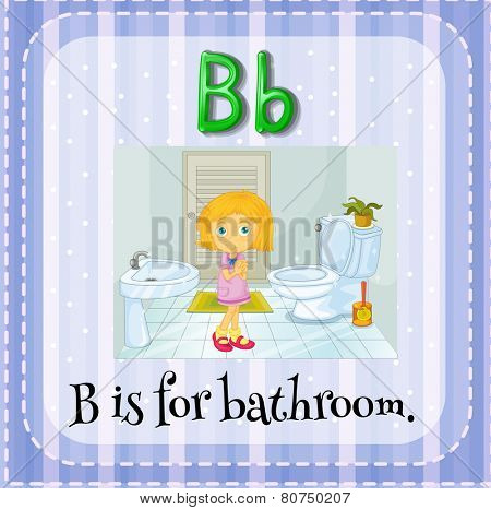 Illustration of a letter b is for bathroom