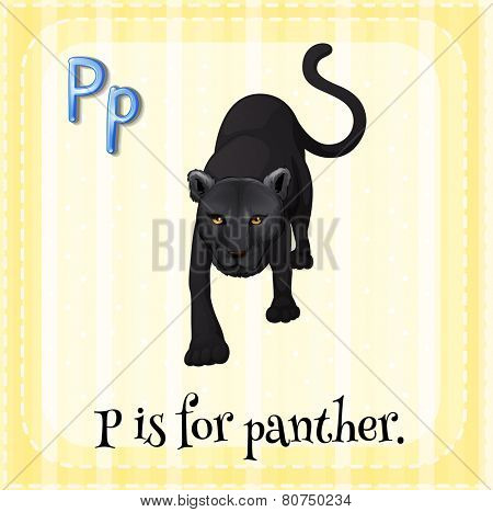 Illustration of a letter p is for panter