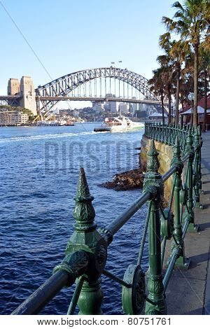 Sydney Harbour Bridge From Circular Quay With Railings Detail