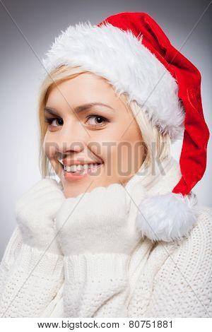 Girl In Santa Hat.
