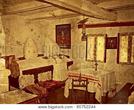 Old Photo With Romanian Traditional Home Interior