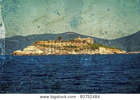 Old Photo With A Medieval Fortress On The Coast Of Dalmatia