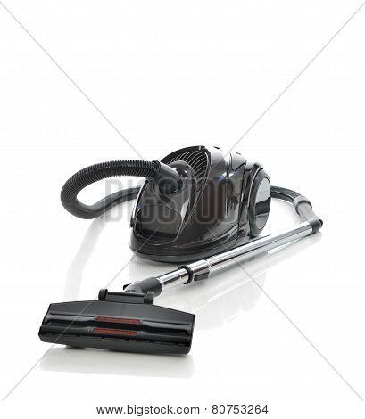 Powerfull Black Vacuum Cleaner On The Floor Isolated