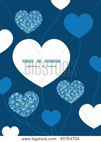 Vector blue white lineart plants heart symbol frame pattern invitation greeting card template