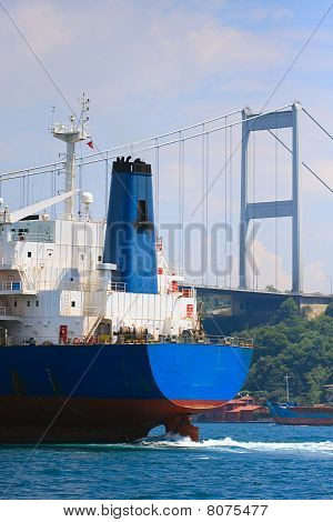Freighter In The Bosporus Strait Before Trans-continental Bridge