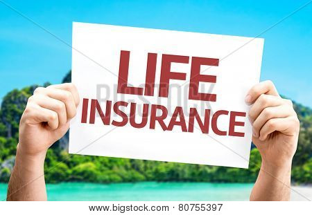 Life Insurance card with a beach on background