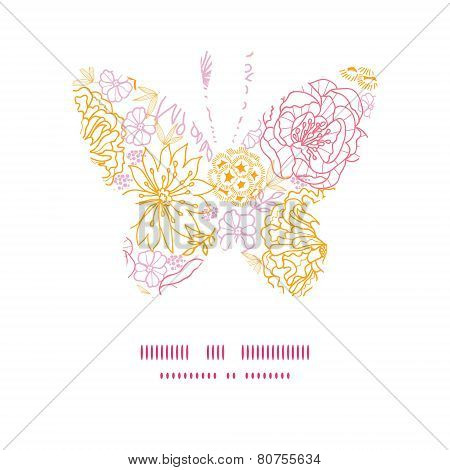 Vector flowers outlined butterfly silhouette pattern frame