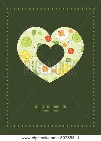 Vector fresh salad heart symbol frame pattern invitation greeting card template