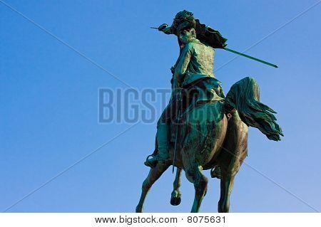 Statue Of Archduke Charles Of Austria Before Blue Sky, Heldenplatz, Vienna, Austria