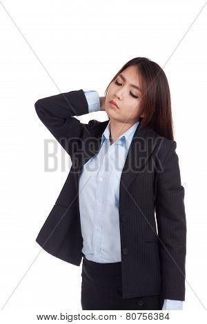 Young Asian Businesswoman Got Neck Pain