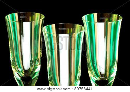Stemware Trio Against Black