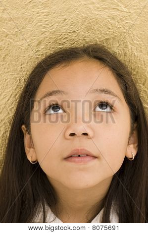 Portrait of Asian Girl Looking Up