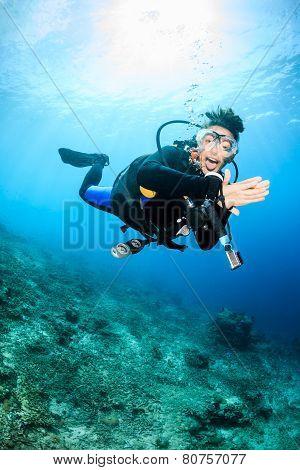 Happy Female SCUBA Diver