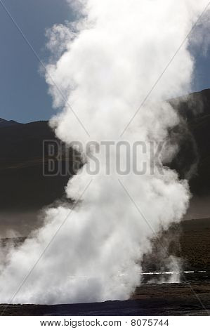 Steam Going Up From Geyser Hole, Chile