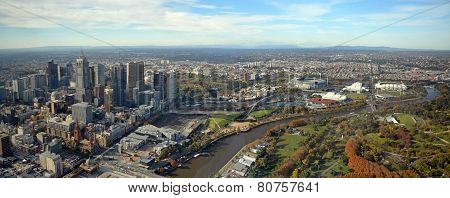 Panoramic View Of Melbourne City, Yarra River & Sports Stadiums