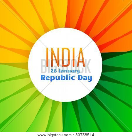 beautiful indian flag design for 26th january republic day