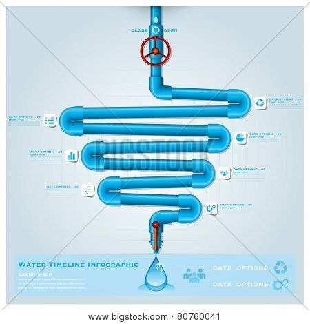 Water Pipe Timeline Business Infographic