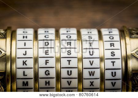 Jesus  word as a password to combination puzzle box with rings of letters