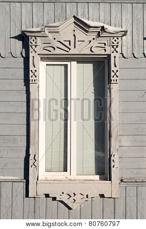 Russian Window Frame White on Light Grey Paint