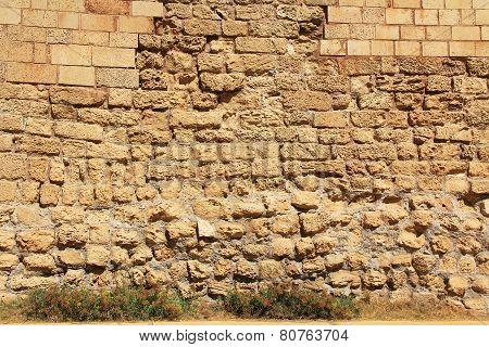 Stone Wall texture Caesarea Maritima National Park