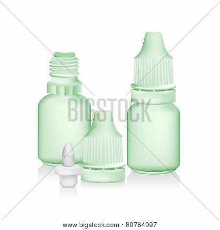 green eye dropper bottle isolate on white background