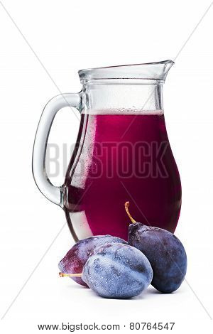 Plum Juice In A Pitcher