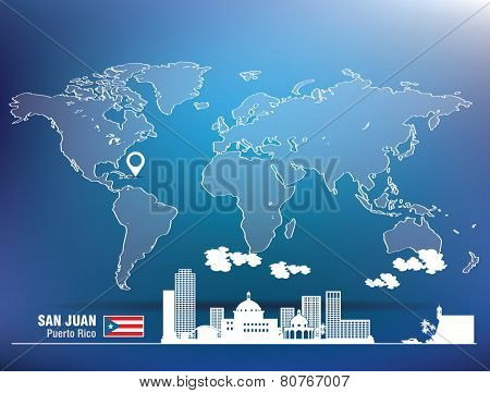 Map pin with San Juan skyline - vector illustration