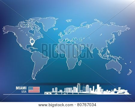 Map pin with Miami skyline - vector illustration