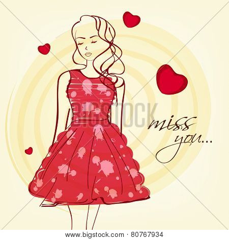 Young girl in red dress with text Miss You on hearts decorated background for Happy Valentines Day celebration.