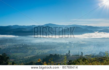 the fog at Yun Lai Viewpoint  located in Mae Hong Sorn, Thailand.