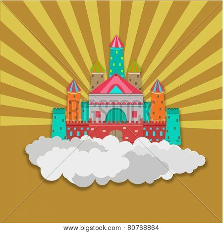Colorful royal castle on clouds for fairy tales concept on stylish background.