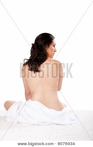 Woman With Towel Ready For Bath