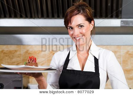 happy waitress