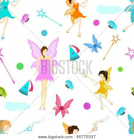 Stylish seamless background for fairy concept with angel, cap, wings, magic stick and butterflies.
