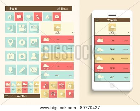 A complete presentation of user interface for mobile with web, social media ,musical icons and smart phone presentation.