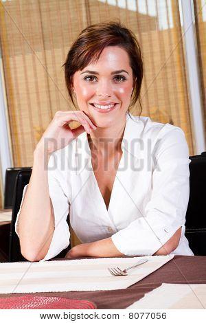 happy female diner